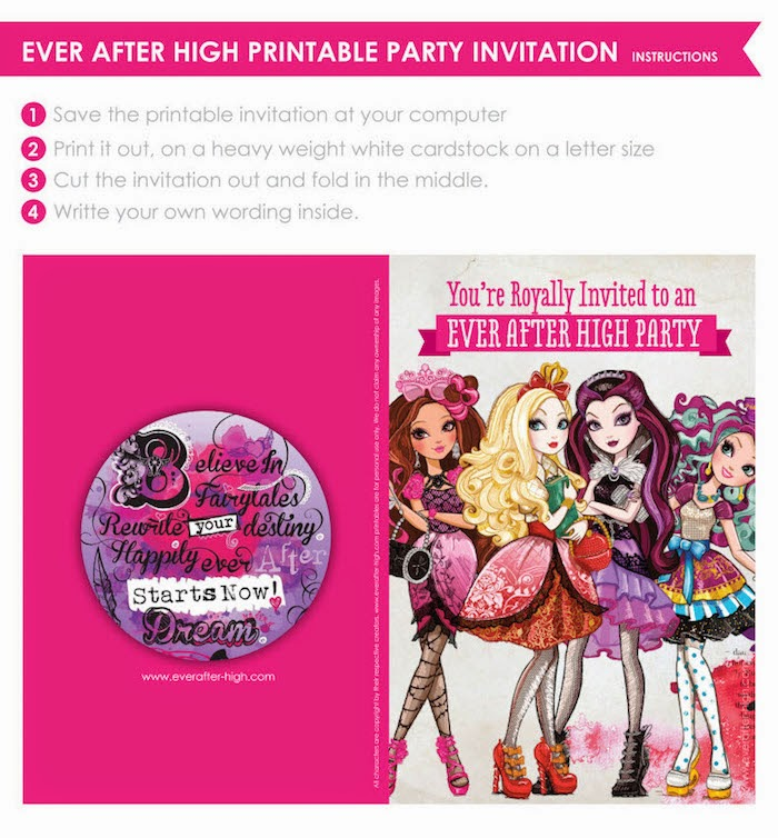 Create with mom playing after watching ever after high netflix if you want to invite some friends over to watch the show you can use the printable party invitation below stopboris Image collections