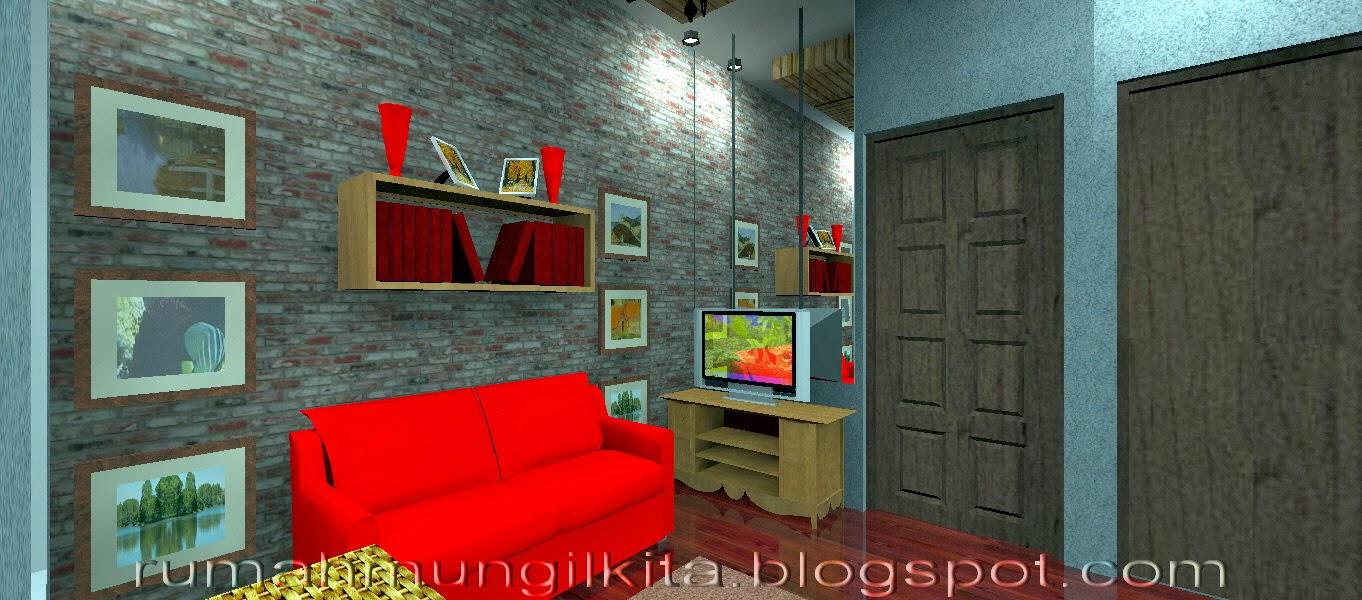 Ruang tamu unfurnished dengan batu bata ekspos