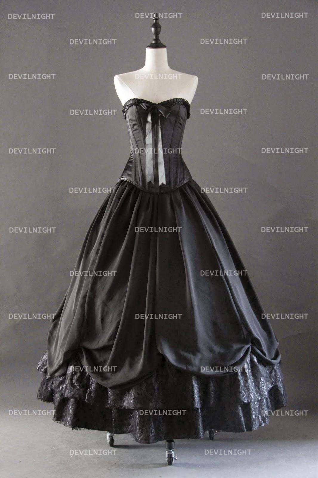 Romantic Black Gothic Corset Prom Party Dress