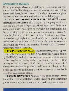 Family Tree Magazine Top 40, Digital Cemetery Walk
