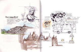 alex bochard croquis carnet voyage Indonésie