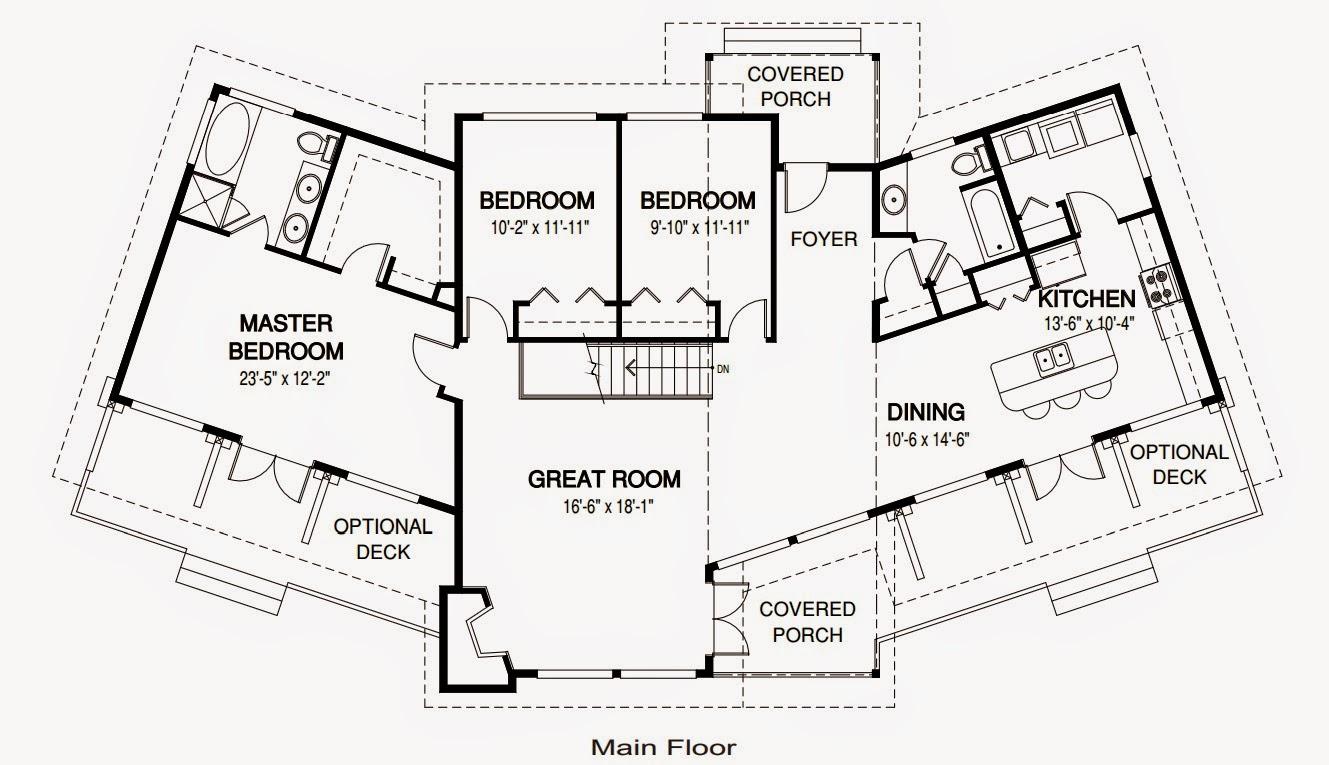 plano de casa de una planta moderna con techo alto