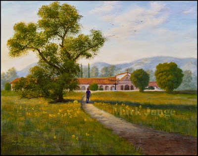 church,California,Mission,San Antonio de Padua,green grass,flowers,late day,afternoon,sundown,sunset,man walking,contemplative,meditative,spiritual