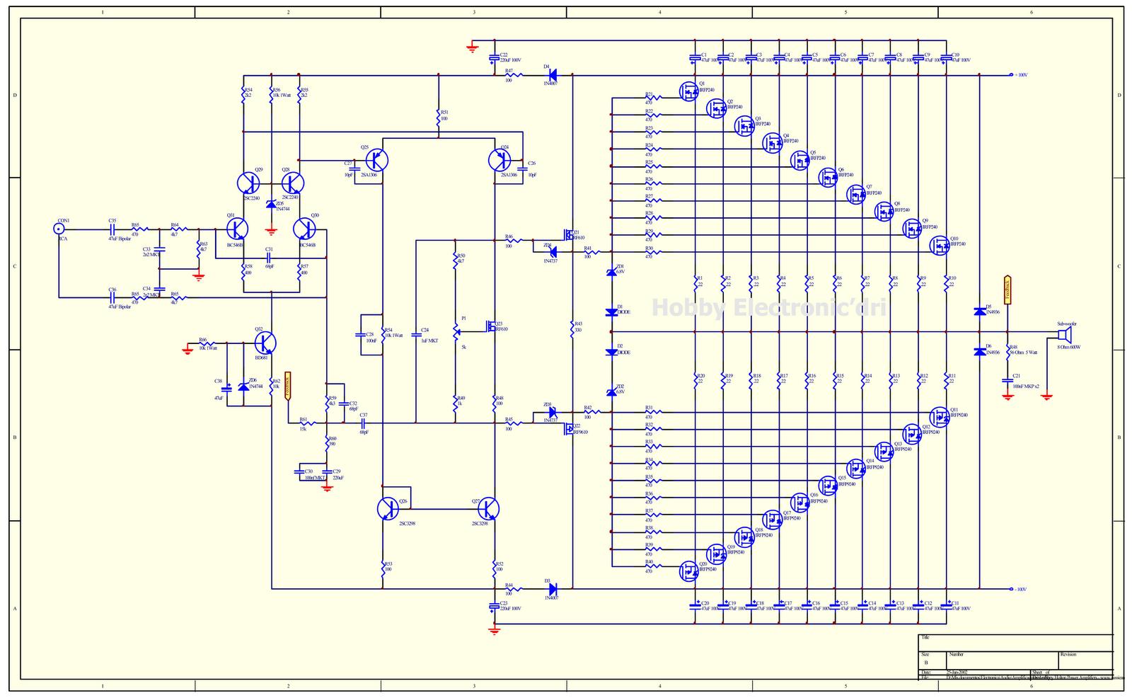 Collection Scheme Audio Power Amplifier High Mosfets 23 W Mono Schematic 1000w Mosfet Circuit