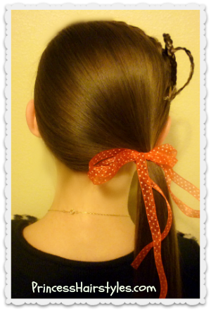 Heart headband with side ponytail