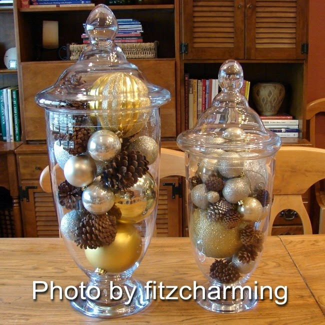 Glass jars with Christmas decorations