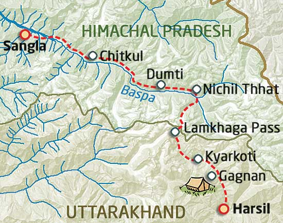 Lamkhaga pass trek map