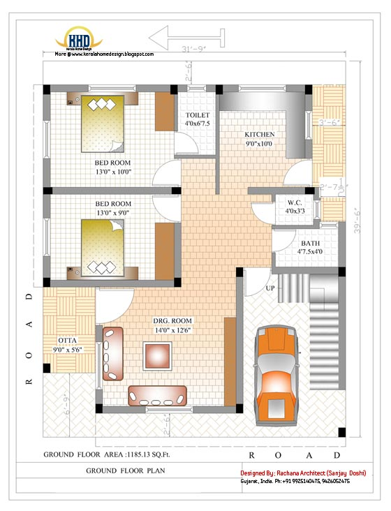 Ground floor house plan - 2370 Sq.Ft.