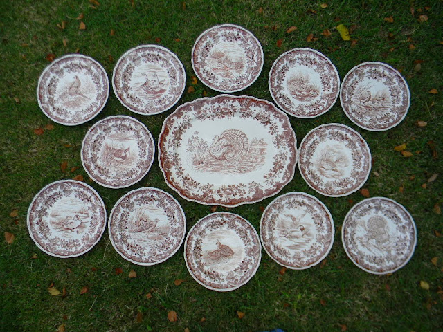 Circa 1930's Copeland Spode Brown Transferware 13 Piece Dinnerware Set