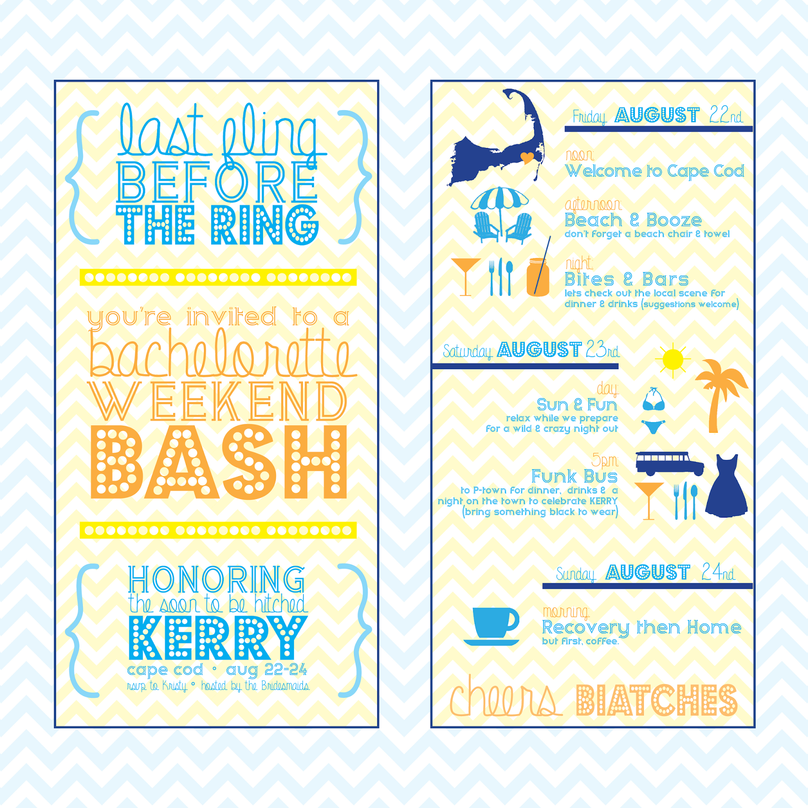 bachelorette party invitations, bachelorette party itinerary, bachelorette weekend bash, invitations, custom bachelorette invitations, last fling before the ring, cheers biatch