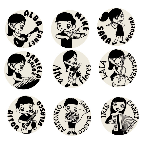 sellos-personalizados-niños-instrumentos-musica