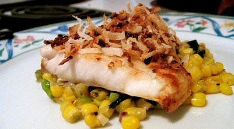 Moist Coconut Rockfish with Peppery Corn Salsa