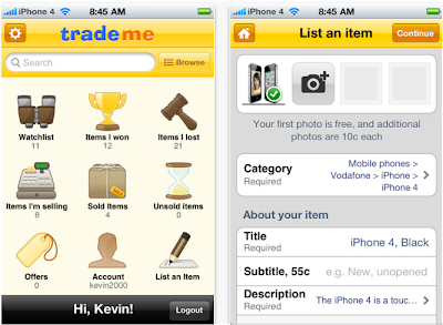 mobile iphone App for Trademe