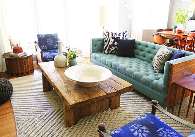 Emily Henderson Aqua Tufted Sofa