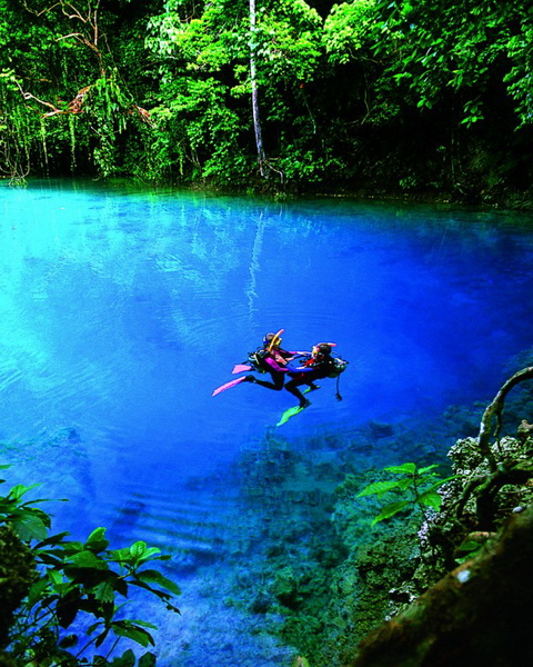 The blue hole in the island of Espiritu Santo, Vanuatu