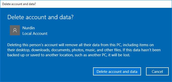 Remove User Account in Windows 10