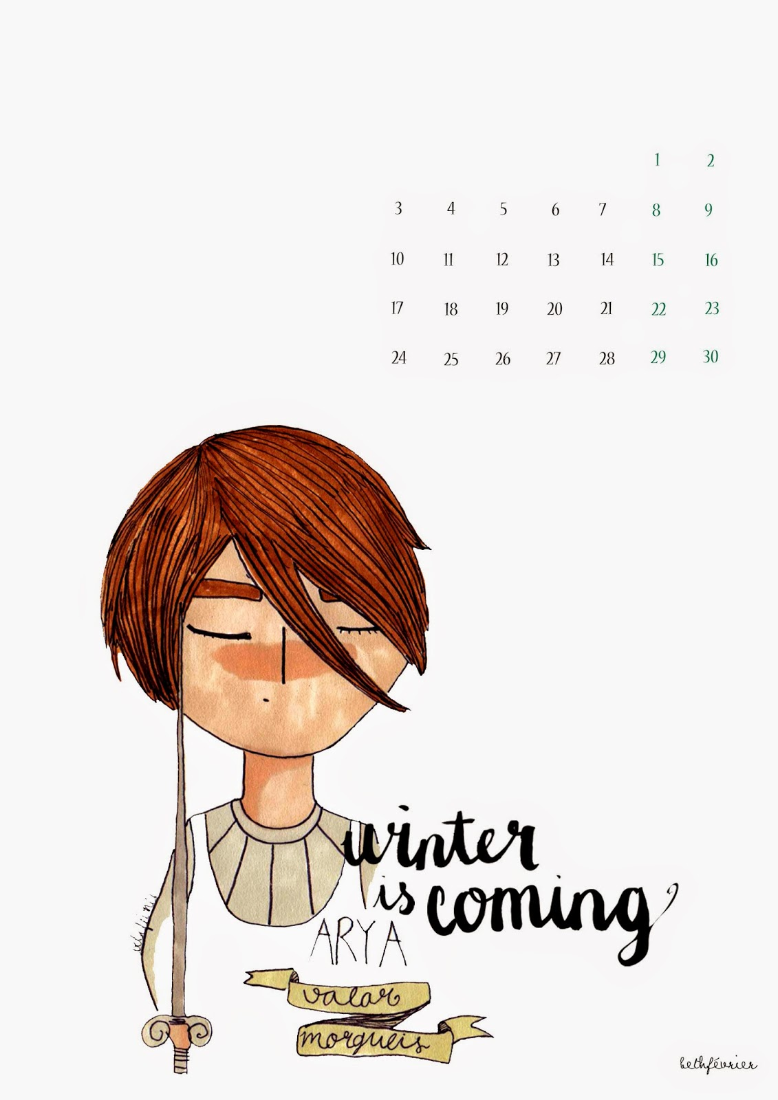 Calendario Noviembre: Winter Is Coming