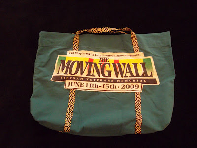 Moving Wall logo, tablet weaving strap on bag out of pillowcase