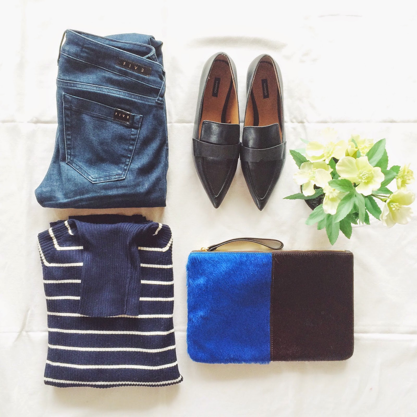 mango loafers, pointed loafers, five jeans, breton striped turtleneck jumper, jaunt accessories clutch, ponyhair clutch, fltalay flatlaying