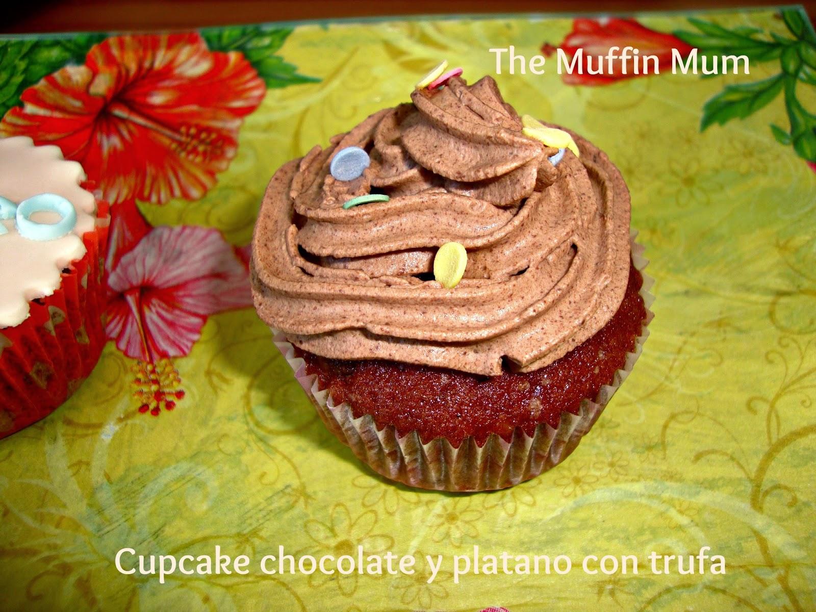 Cupcakes de chocolate y plátano con trufa