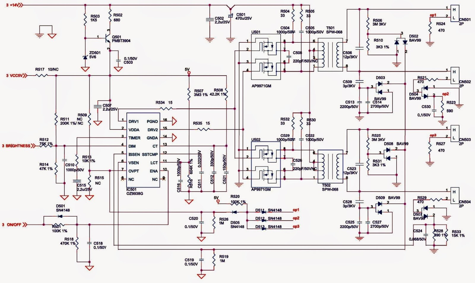 SAMSUNG 920NW 19 Inch LCD MONITOR Circuit Diagram SMPS and Back