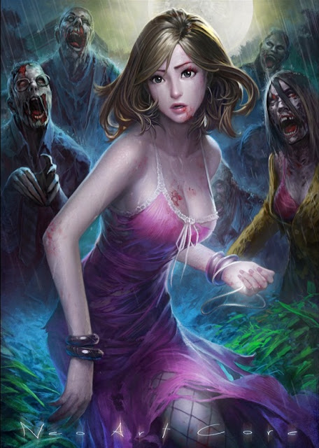 zombies,zombie attack,fantasy girl