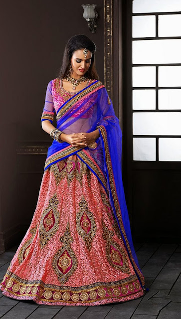 Peach & Blue Net Lehenga With Dupion Silk Choli & Zari Work