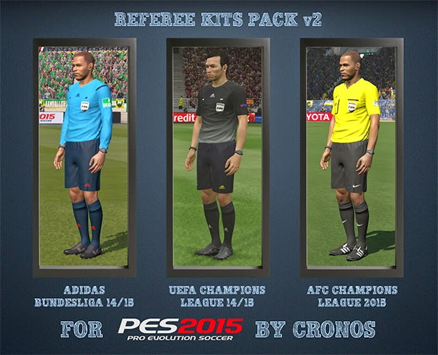 PES 2015 Referee Kits Pack v2 - Adidas Generics + UCL + ACL by Cronos