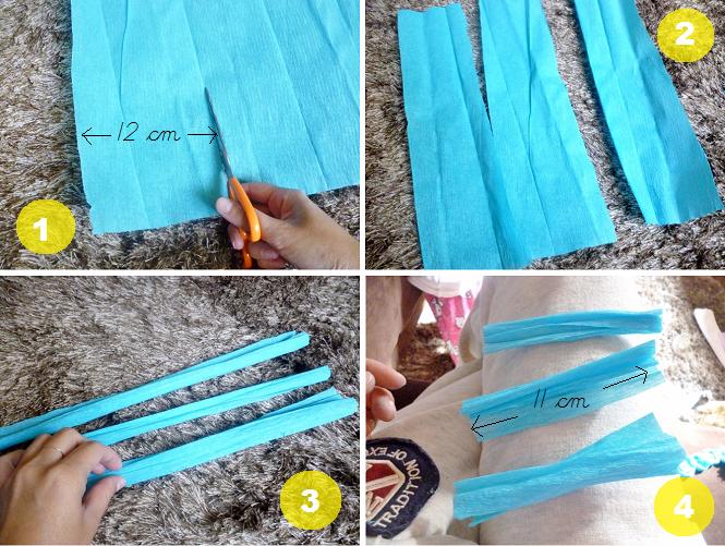 1 Cortamos una tira de papel crepe de aproximadamente 12 cm.