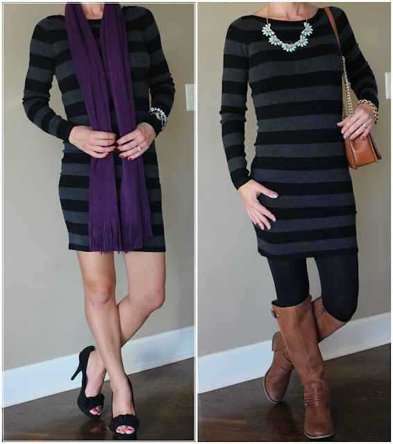 French Connection striped sweater dress in black and gray, how to wear a sweater dress with boots, outfit idea for winter