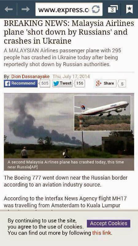 Beberapa Petikan Yang di Petik dari Laman Sosial Tentang Nahas Pesawat MAS MH17 yang Terhempas