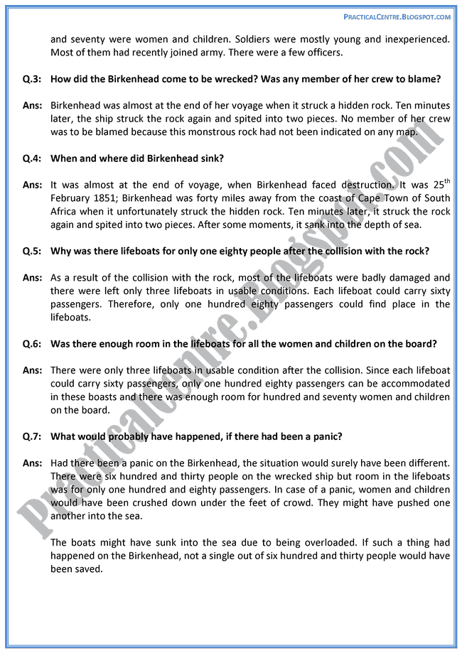 The-Birkenhead-Drill-Prose-Questions-Answers-English-XI