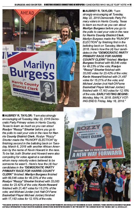 PAGE 21 - HOUSTON BUSINESS CONNECTIONS NEWSPAPER© RUNOFF ELECTION - PART 1 of 3