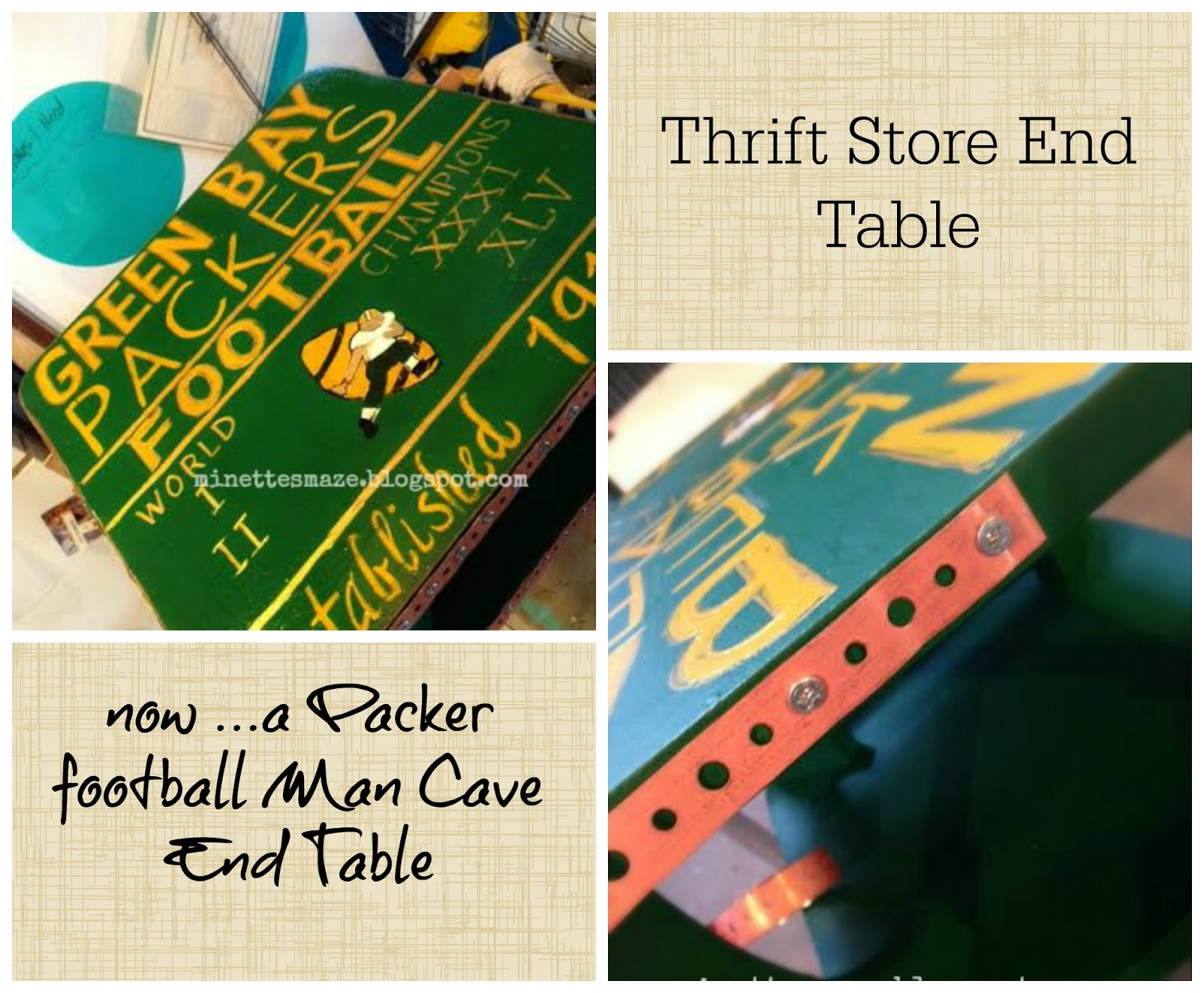 Man Cave Thrift Store : Minettesmaze thrift store end table football man cave