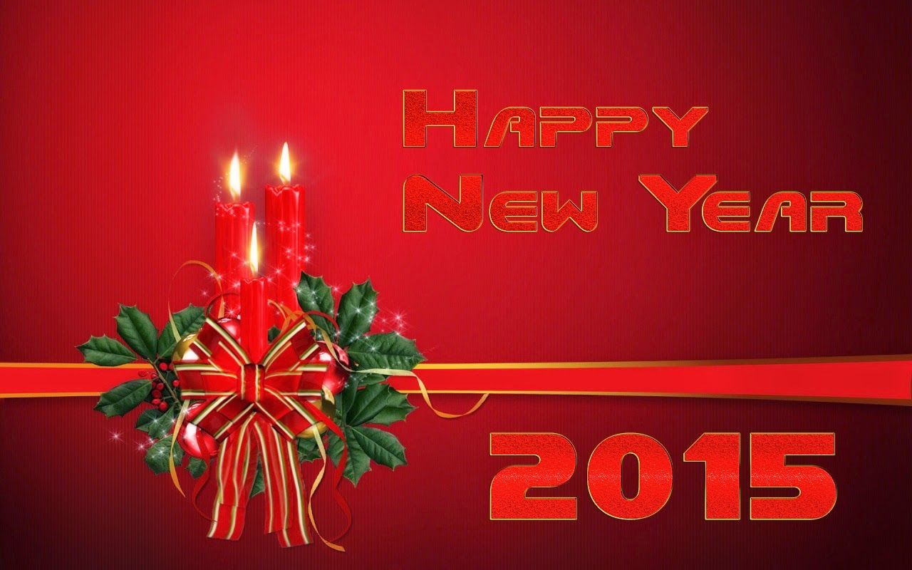 Happy New Year Wishes Cards 2015 Christmas Candles Images