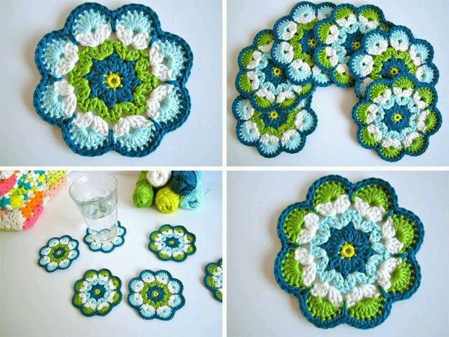 De verdad crochet: PATRON DE POSAVASOS DE FLOR