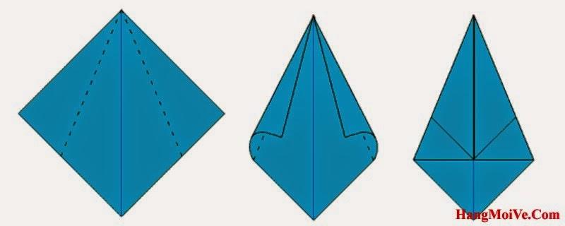 Bước 5: Gấp chéo 2 cạnh của hình vuông lại vào phía trong (như hình 2)
