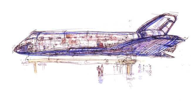 "shiho nakaza ""space shuttle"" endeavor exhibit space shuttle ""los angeles"" sketch watercolor"