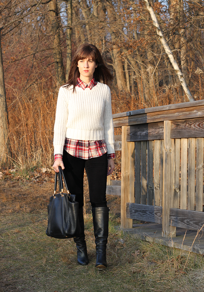 Plaid shirt, tall boots, what to wear winter