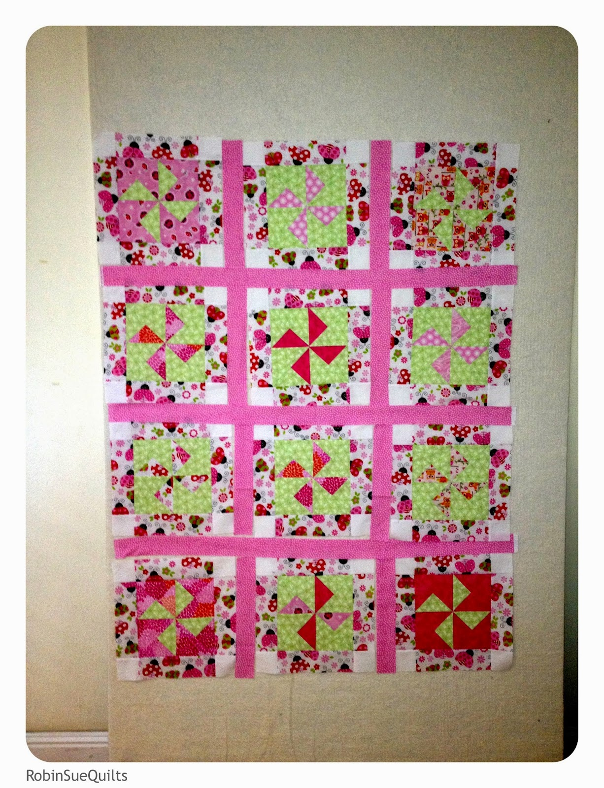 pinwheels, leftover blocks, pink and green