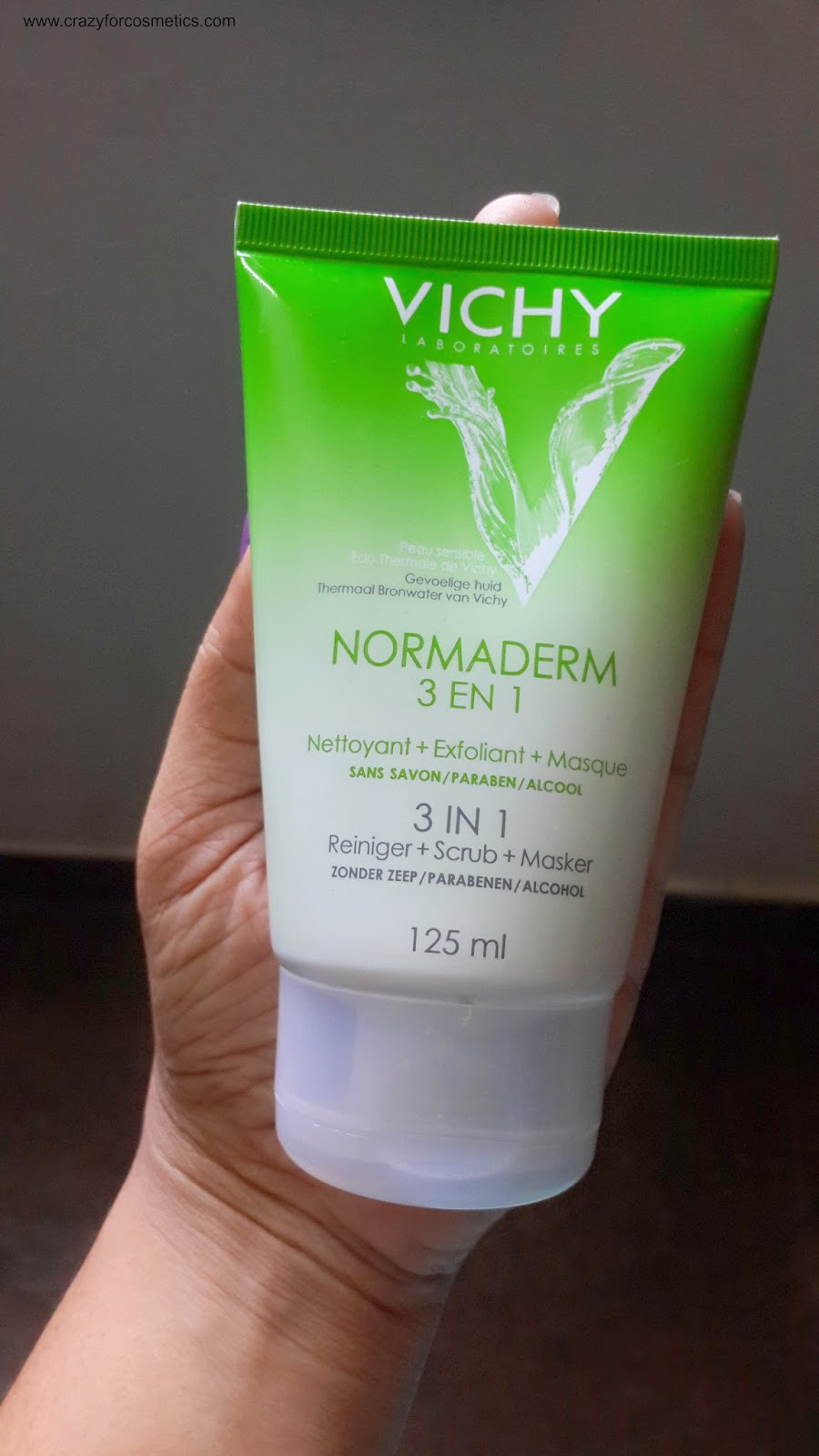 Vichy Normaderm 3 in 1 Cleanser Scrub Face mask review- Vichy 3 in 1 scrub mask review- Vichy 3 in 1 Scrub Face mask price- Vichy skincare range-Vichy Paris products