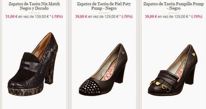 Ejemplos de tres de los zapatos de tacón disponibles en esta oferta