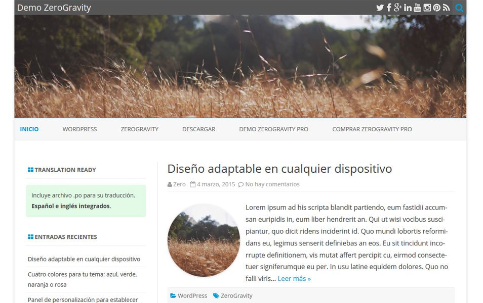 ZeroGravity Responsive WordPress Theme