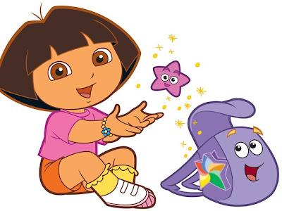 Desenho Dora a Aventureira e mochila colorido