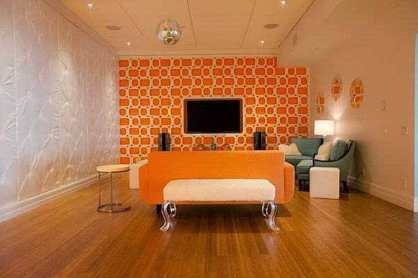 Minimalist Orange Living Room In Combination With White Color Part 70