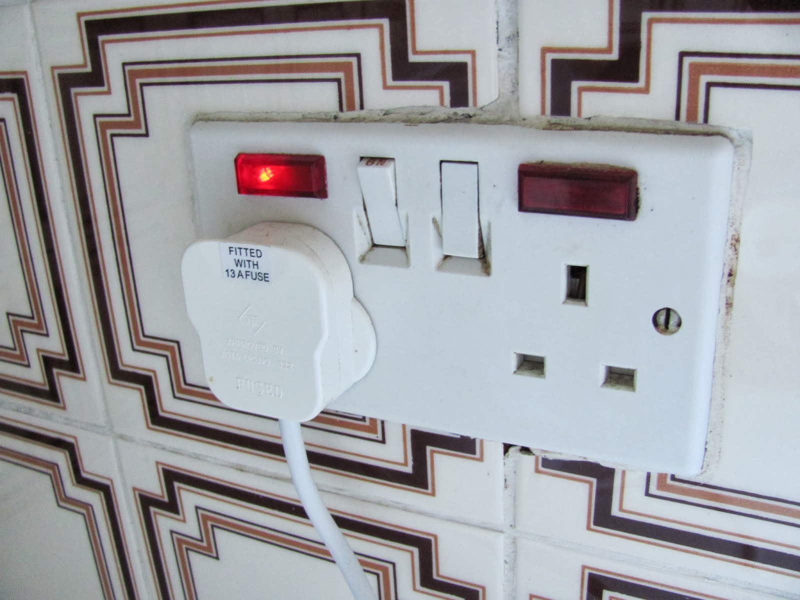 The kitchen power sockets are activated by switches and indicator lights in Dublin, Ireland