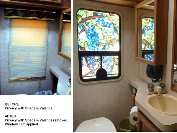 stained glass bathroom window in RV motorhome by Dear Miss Mermaid copyright by http://DearMissMermaid.com