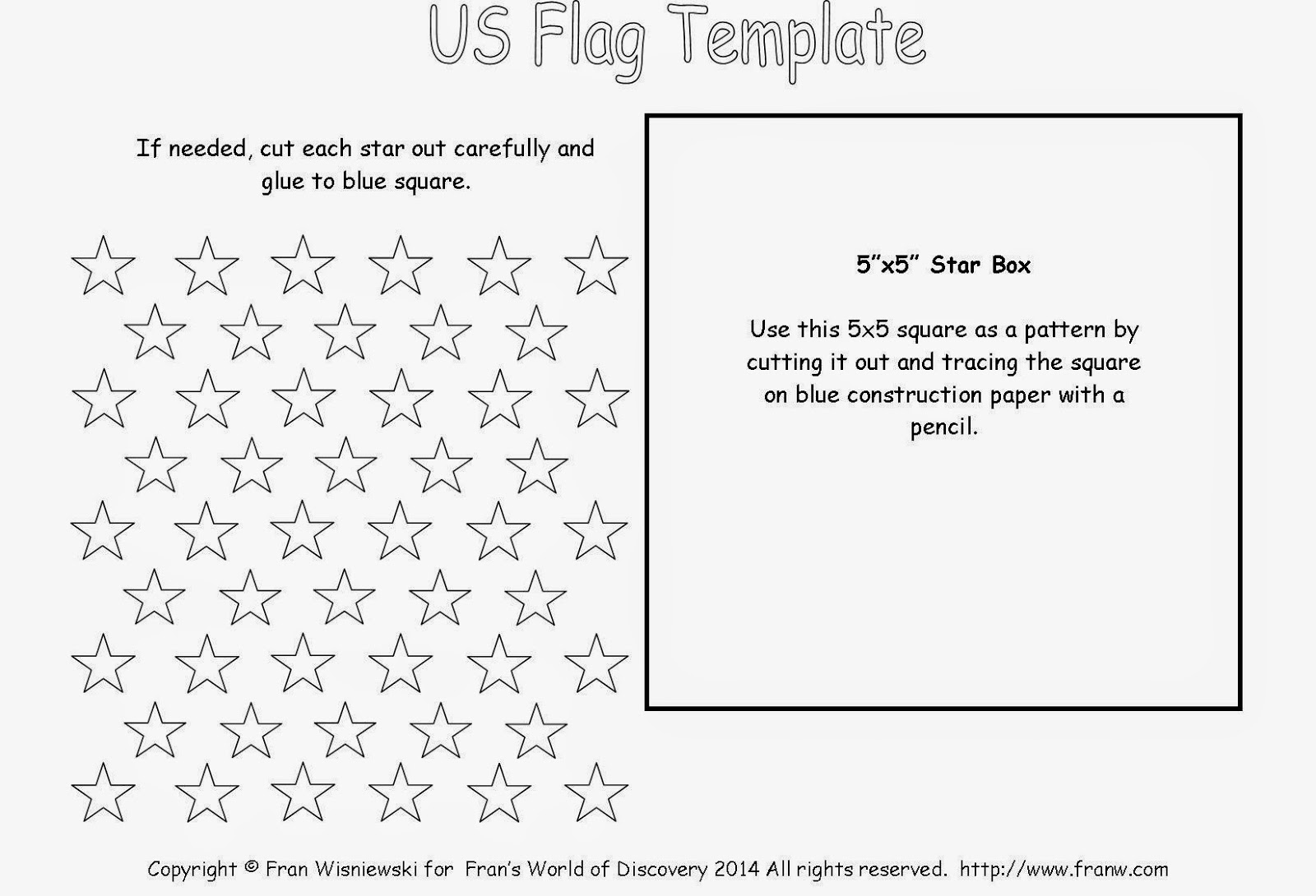50 stars flag template for toothpicks