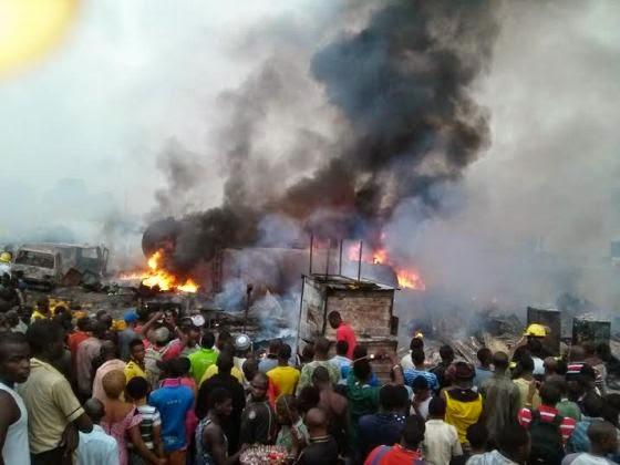 Graphic photos: Fire at Mile 12 'Diesel Black Market'  000