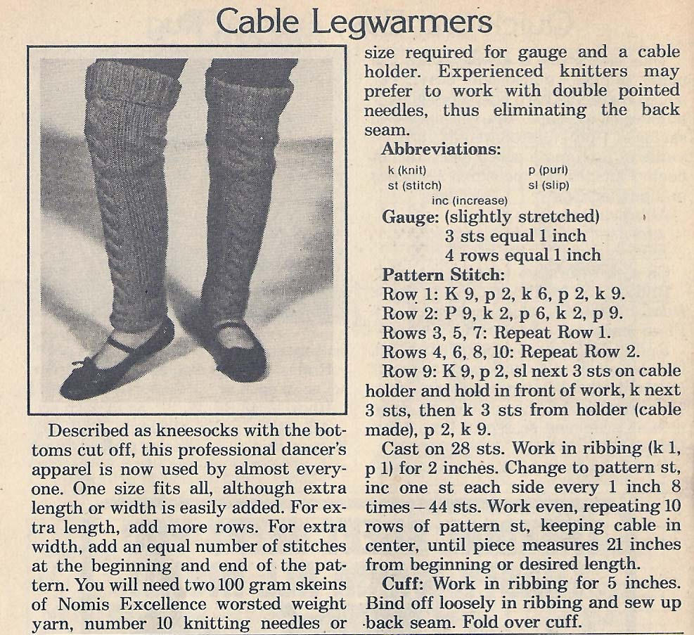 Vintage Knit Crochet Shop Talk: Knitted Cable Leg Warmers, Free Pattern